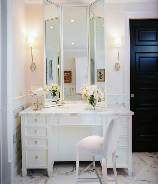 elegant white powder room