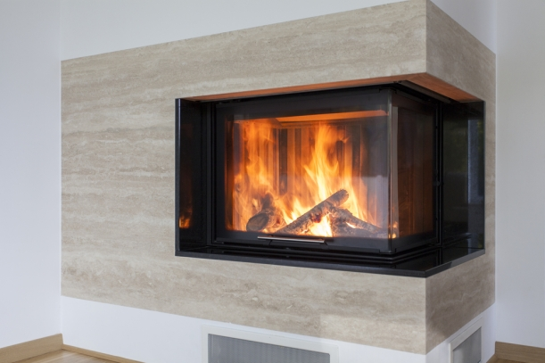 travertine stone fireplace